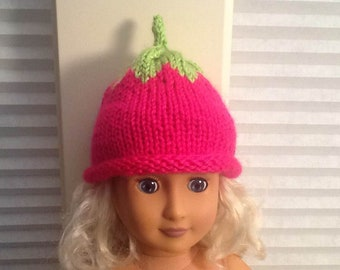"Cute Little Hand Knit Hot Pink Berry Hat for an American Girl Doll AG or any 18"" Doll at NeedlesandPinsShop"