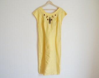 Vintage Summer Dress / Vintage Yellow Dress