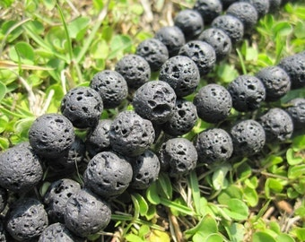 Black Lava Stone Round Beads 4mm 6mm 8mm 10mm 12mm