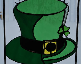 Stained glass St Patricks Day top hat with shamrock suncatcher wall decor