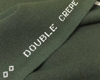CREPE WOOL Fabric by the Yard Wool Fabric by The Yard Double Crepe Fabric Green Fabric Crepe Fabric