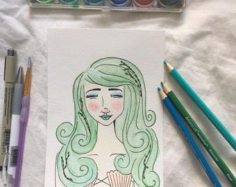 "Illustrated Watercolor Portrait Print - ""Mer"""