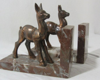 French vintage, Bambi bookends, 2 copper and marble, fawn bookends, deer bookends, French bookends, library, mantlepiece decor, unique gift.