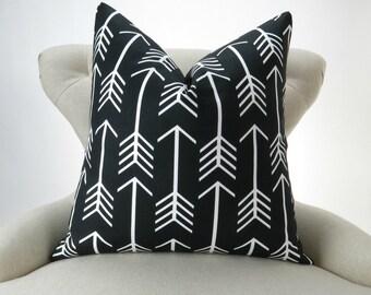 Black Arrow Pillow Cover -MANY SIZES- Black & White Throw Pillow, Euro Sham, Cushion Cover, Black White Decor, Premier Prints, FREESHIP