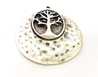 Silver Pendant Tree Pendant Antique Silver Plated Hammered Pendant (33mm) G7273