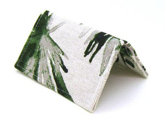 Mini Wallet / Card Holder / Business Card Holder / Card Case / Gift Card Holder/ Small Wallet - Green Palm