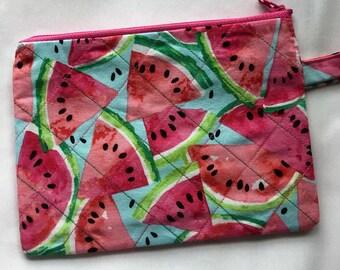 Watermelon Zipper Wristlet