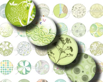Shades of Green (3)  Digital Collage Sheet - Circles 1inch - 25mm or any smaller size - Buy 3 Get 1 Extra Free