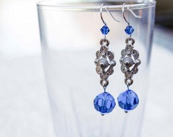 Blue Crystal Art Deco Style Drop Earrings - Elegant, Sapphire, Wedding