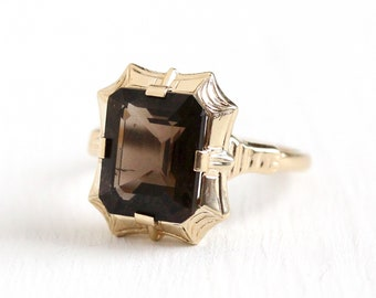 Smoky Quartz Ring - Vintage 10k Rosy Yellow Gold Art Deco 1930s Size 5 1/2 - Emerald Cut 3.07 CT Brown Gemstone Fine Esemco Jewelry