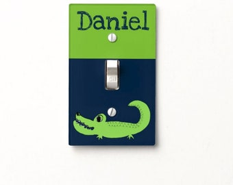 Personalized Alligator light switch cover crocodile switchplate kids room decor jungle safari animals zoo boys girls bedroom bathroom