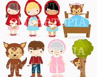 Little Red Digital Clipart For Personal And Commercial Use / INSTANT DOWNLOAD