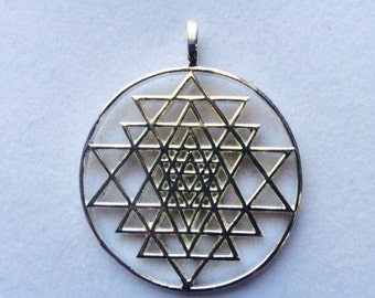 Sri Yantra Pendant made in 925 Sterling Silver , Sacred Geometry