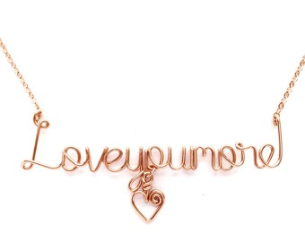 Love You More Necklace with small heart. Rose Gold Love you more necklace. Love Necklace. Valentines Day Necklace