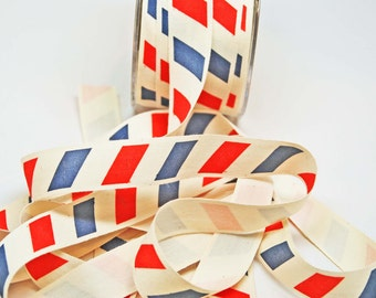 Canvas Ribbon -- 3 / 4 inches -- Red Blue Cream Postal Inspired 3 yds