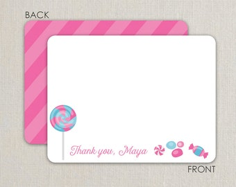 Candy Party Flat Notecards - Birthday Thank you notes