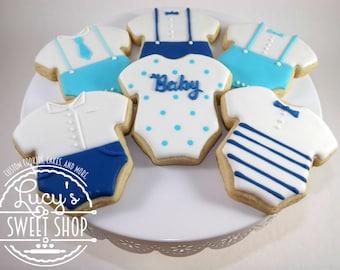 Boy Baby Shower Cookies - Dapper Baby - Dapper Boy - Onesie Cookies - Baby Cookies - Boy Cookies