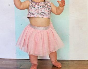 1st birthday Confetti sprinkles Salmon Pink Tu tu Party Dress Baby Outfit