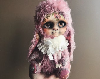 TeddyBlythe Pink Rabbit OOAK Custom Blythe Doll