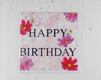 Cosmos Flower Happy Birthday Card