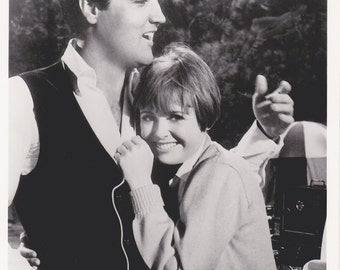 "Vintage Elvis Presley Photo, ""Spinout""  Movie Promo  8x10 Deborah Walley, Black and White Picture of Mike & Les Hug"