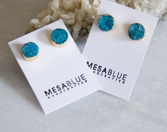 Druzy Earrings, Turquoise Druzy, Gold Stud Earrings