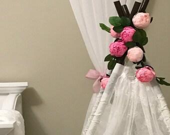 Bridal garland,wedding garland,paper flower garland,peonies paper flower, salmon, raspberry,party garland,paper flower decor