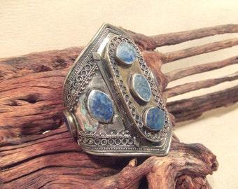 Große Tribal Silber Manschette Armband--alte Kuchi Schmuck Lapislazuli - Steinen--schwere Patina (kostenloser Versand Verkauf)