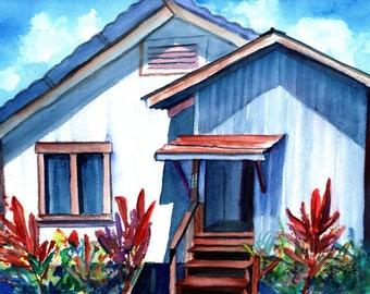 Kauai original watercolor, Kauai plantation house, Hawaii painting, Hawaiian artwork, kauaiartist, hawaii wall art, plantation cottages