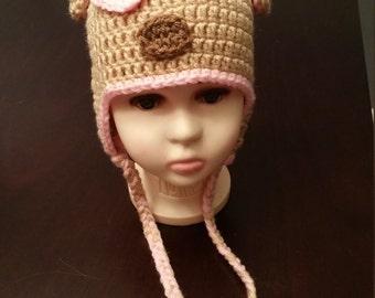Crochet Puppy Pink Child Hat