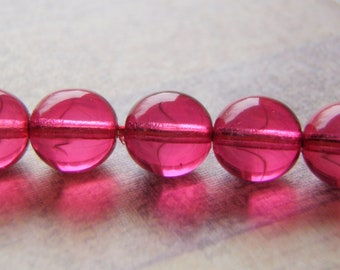 Cranberry Red Beads Round Glass Druk Smooth Coated 20 Beads