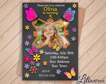 Butterfly Invitation, Butterflys Birthday Invitation, Butterflys Invite, Any Age Birthday Party, Digital file 18