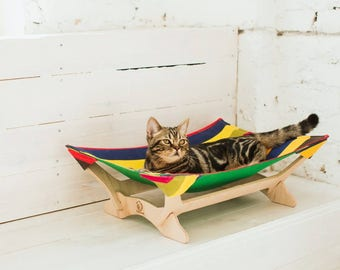 Cat hammock bed for Pet hammock Striped Cat bed hammock pet Modern cat furniture wood Cat bed cave Furniture for cats Cat condo Cat lover