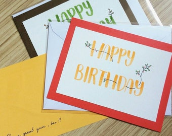Calligraphy Lettering Handmade Birthday Greetings Card, pastel and colorful
