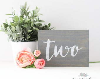 Rustic Wooden Table Numbers - Wood Table Numbers - Calligraphy Wedding Table Numbers TB-31