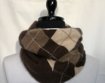 Brown Cocoa and Cream Argyle Infinity Cashmere Scarf made from an Upcycled Sweater