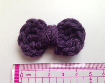 4 bowties purple aubergine wool and crochet