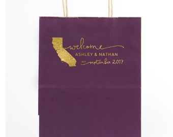 Personalized Foil Stamped Wedding Welcome Bag, Wedding Welcome Bag, Out of Town Welcome Bag, Any State