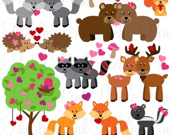 Valentine's Day Animals Clipart Clip Art, Valentine Forest Woodland Animals Clipart Clip Art Vectors - Commercial and Personal Use