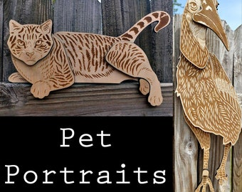 Pet Portraits in Layered Laser Engraved Wood