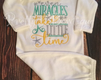 Newborn coming home outfit - Even miracles take a little time-  newborn gown and hat hospital outfit