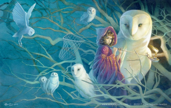 """Girl Catching Dreams 11x17 Fine Art Print, Owls Art, Magical Forest Painting - """"Dreamstealer"""""""