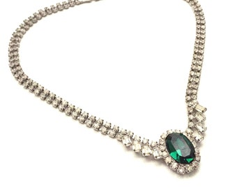 Vintage Emerald Green and Clear Crystal Rhinestone Necklace