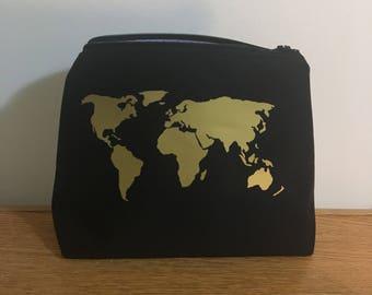 Gold World Map Makeup Bag, Cosmetic Bag, Toiletry Bag, Travel Bag