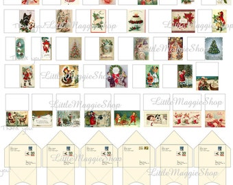 Printable Christmas dollhouse miniature greeting cards with envelopes 1:12 scale DOWNLOAD