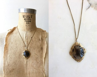 Dendritic Agate necklace | antique 1910s agate | Victorian agate necklace