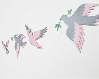 Grey and Pink Bird Garland