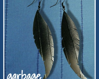 Silver Ombre Raven Feather Upcycled Vegan Leather Earrings
