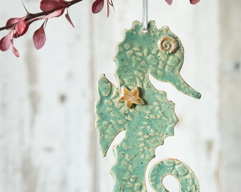 Christmas Holiday Ornament for tour Tree - Seahorse Fish Ocean