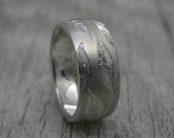 Silver ring, 10 mm wide, outside/inside convex